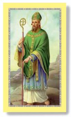 St Patrick, pointing at the ground