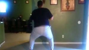 Moy man practising arse-dancing