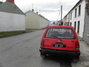 Donegal car in outside McMahon's house in Omagh